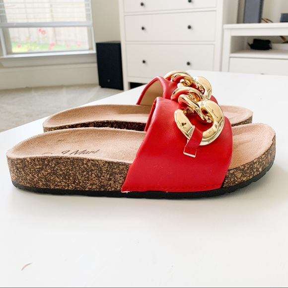 J. Mark Shoes - J.Mark Red Sandals with Chain Urban-34